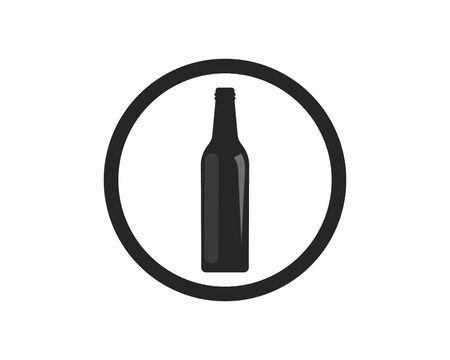 wine bottle  logo icon vector illustration design template