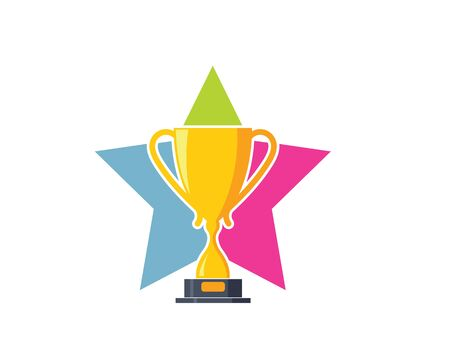 Trophy illustration vector logo icon of winner illustration design