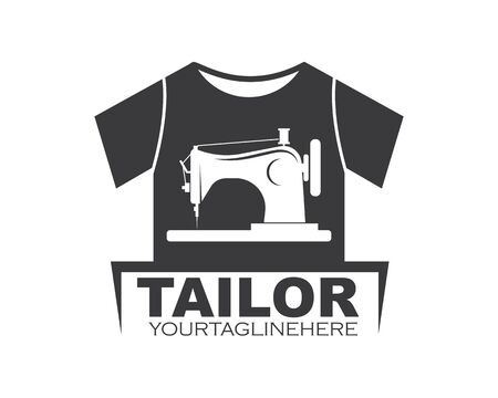 sewing machine in clothes  icon logo vector of tailor business design 向量圖像