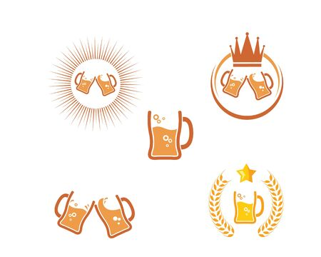 beer logo icon vector illustration design template  イラスト・ベクター素材