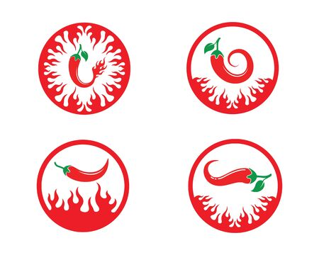 Chili logo icon vector illustration design template Illusztráció