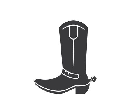 cowboy boot logo icon illustration vector design template  イラスト・ベクター素材
