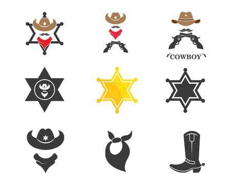 cowboy icon set element  illustration vector design template  イラスト・ベクター素材