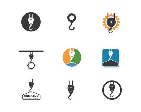 Modèle d'illustration vectorielle de logo de crochet de grue Logo