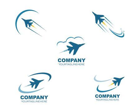 jet plane logo vector icon illustration design template