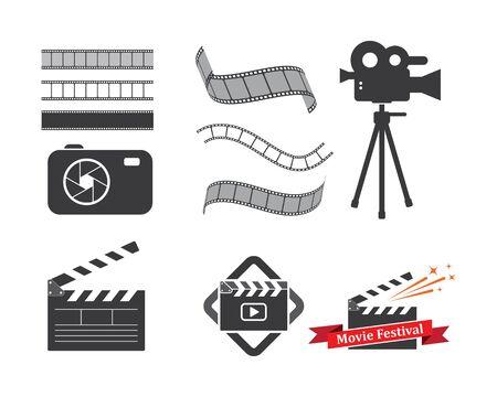 disegno dell'illustrazione di vettore dell'elemento dell'icona del logo del film industriale