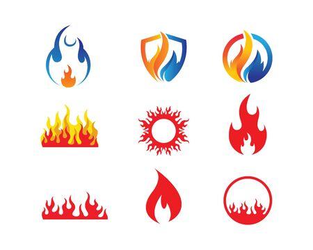 Fire flame Logo icon vector illustration design template Illustration