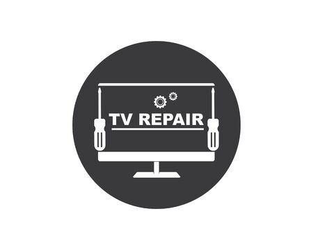 tv repair icon logo vector illustration design