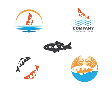 Koi fish logo vector template