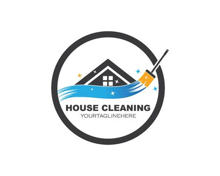 house cleaning service icon logo vector illustration Иллюстрация
