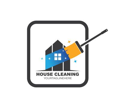 house cleaning service icon logo vector illustration 스톡 콘텐츠 - 130156512