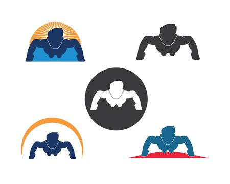 push up icon logo vector illustration design template Ilustração