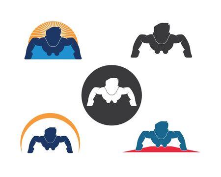 push up icon logo vector illustration design template Illustration