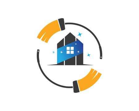 house cleaning service icon logo vector illustration template