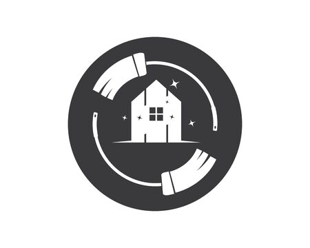 house cleaning service icon logo vector illustration template 스톡 콘텐츠 - 130156375