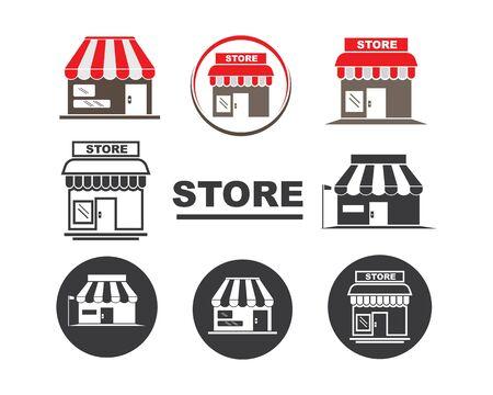 negozio icona logo illustrazione vettoriale design