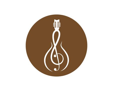note guitar icon logo vector illustration design template