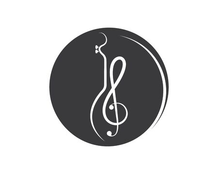 note guitar icon logo vector illustration design template