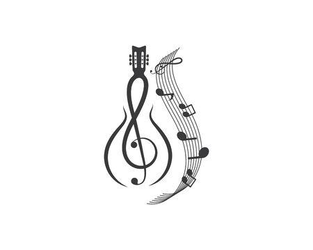 note guitar icon logo vector illustration design