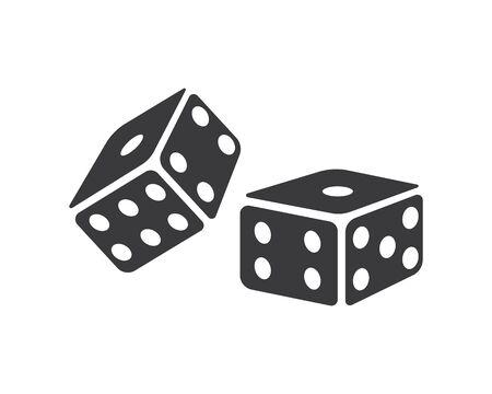 Plantilla de diseño de ilustración de vector de icono de cubos de dados