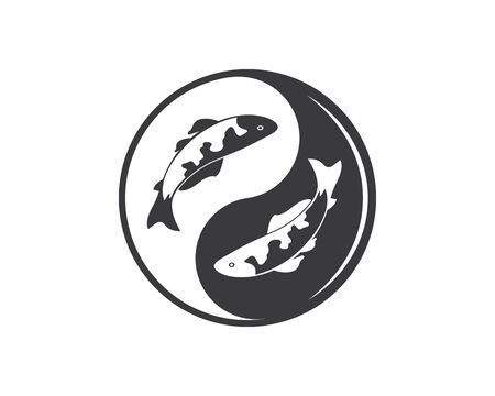 yin yang koi fish  vector icon illustration design template