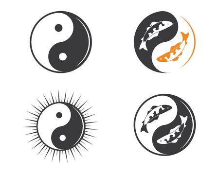yin yang vector icon illustration design template