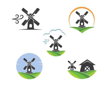 Diseño de ilustración de vector de icono de molino de viento