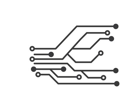 circuit board line,cpu,chip icon logo illustration vector design