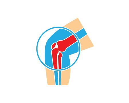 knee joint bone logo vector illustration design