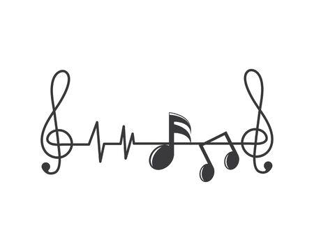 nota musicale linea di impulso, equalizzatore ed effetto sonoro illustrazione logo vettore icona modello