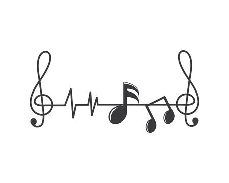 nuta linia pulsu, korektor i efekt dźwiękowy ilustracja logo wektor ikona szablon