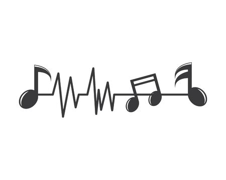 music note pulse line,equaizer and sound effect ilustration logo vector icon template