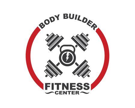 Bodybuilder fitness gym icon logo badge vector illustration design Ilustração
