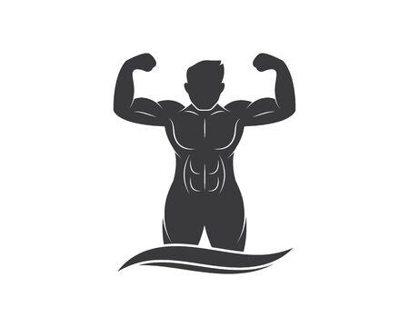strong man icon of Bodybuilder fitness gym logo badge vector illustration design