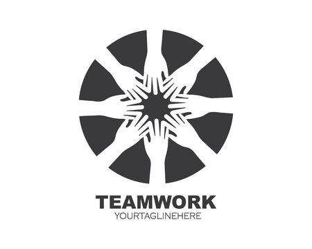 teamwork logo  vector icon illustration design template