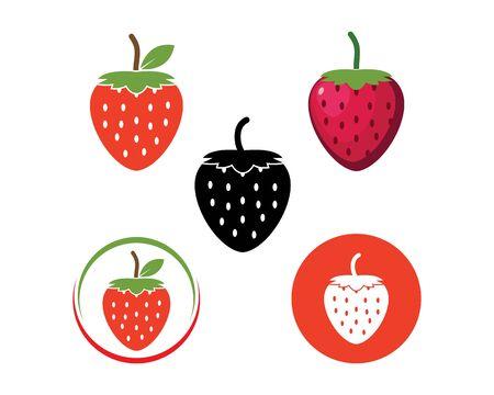 strawberry icon logo vector illustration design