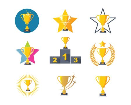 Trophy illustration vector logo icon of winner illustration design