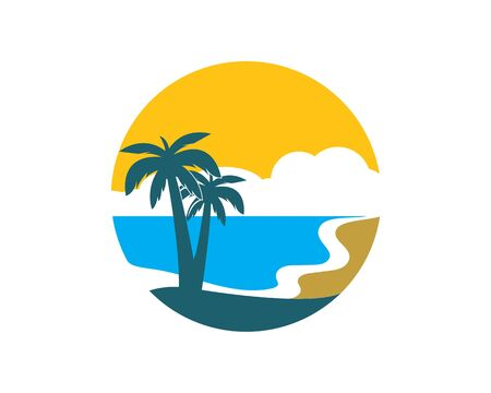 Palm tree icon of summer and travel logo vector illustration design Banco de Imagens - 130759964