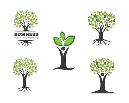 family tree logo template vector illustration Çizim