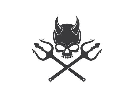 skull bone logo vector illustration design