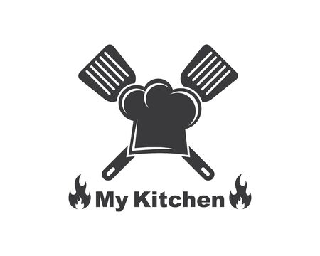 spatula and chef cap  logo icon of cooking and kithen vector illustration 일러스트