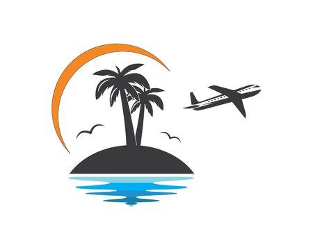 Icône de palmier de conception d'illustration vectorielle de logo d'été et de voyage Logo
