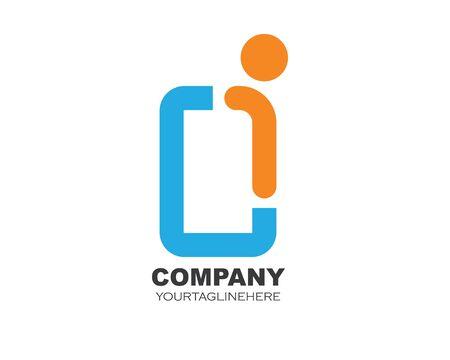 i letter logo icon illustration vector design Stock Illustratie
