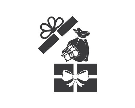 gift box logo vector icon design Illustration