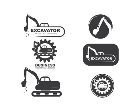 excavator icon logo vector design template Illusztráció