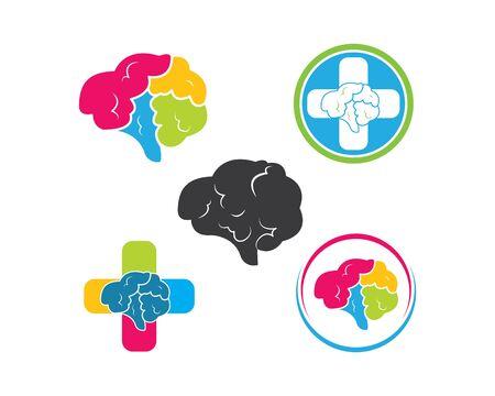 Brain illustration vector icon Logo design template