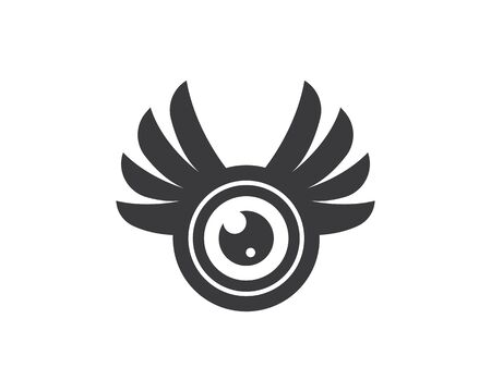 optical eye with wings icon Logo vector Template illustration design