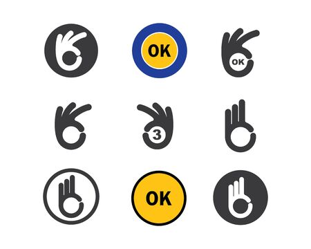 ok hand gesture and sticker  vector illustration design