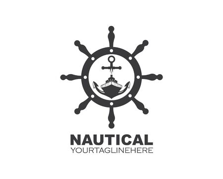 steering ship vector logo icon of nautical maritime design Ilustração
