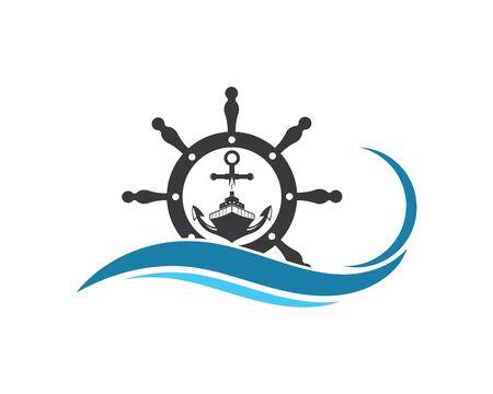 steering ship vector logo icon of nautical maritime design Illustration